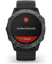 fēnix 6X Pro & Sapphire med skjermbilde for sikkerhets- og sporingsfunksjoner