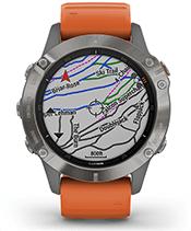 fēnix 6 Pro y Zafiro con la pantalla de mapas de esquí TopoActive de Europa