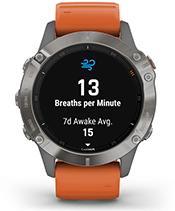fēnix 6 Pro y Zafiro con la pantalla de seguimiento de la respiración