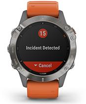 fēnix 6 Pro y Zafiro con la pantalla de las funciones de seguimiento y seguridad