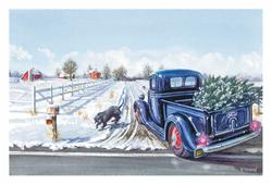Ford Pickup Truck With Christmas Tree Greeting CardsSet