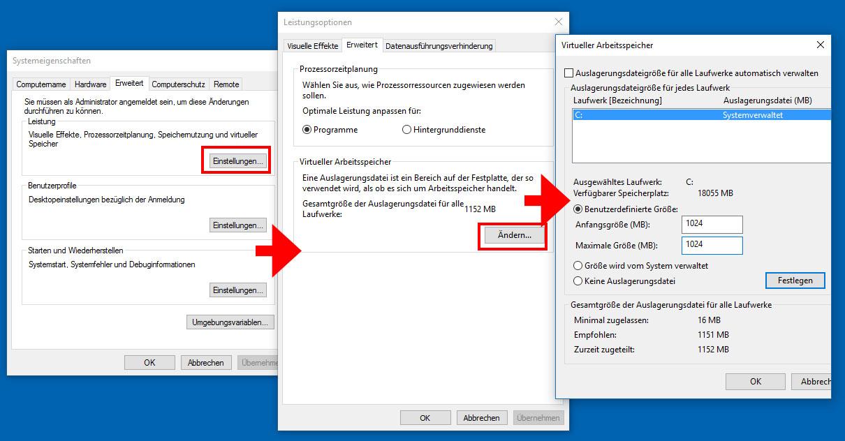 Windows 10 7 8 Auslagerungsdatei Andern Deaktivieren So Geht S