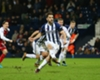 Jay Rodriguez scores a penalty for West Brom against Arsenal