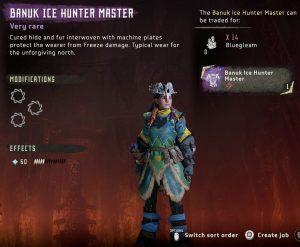 Conjunto HZD Frozen Wilds Banuk Ice Hunter