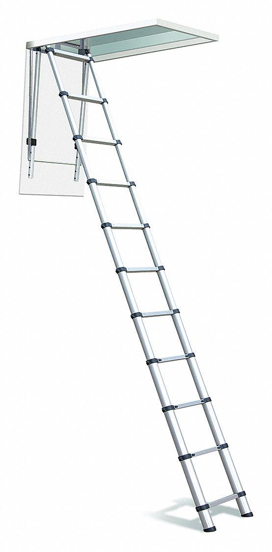 TELESTEPS Aluminum Attic Ladder 20YV891000L Grainger