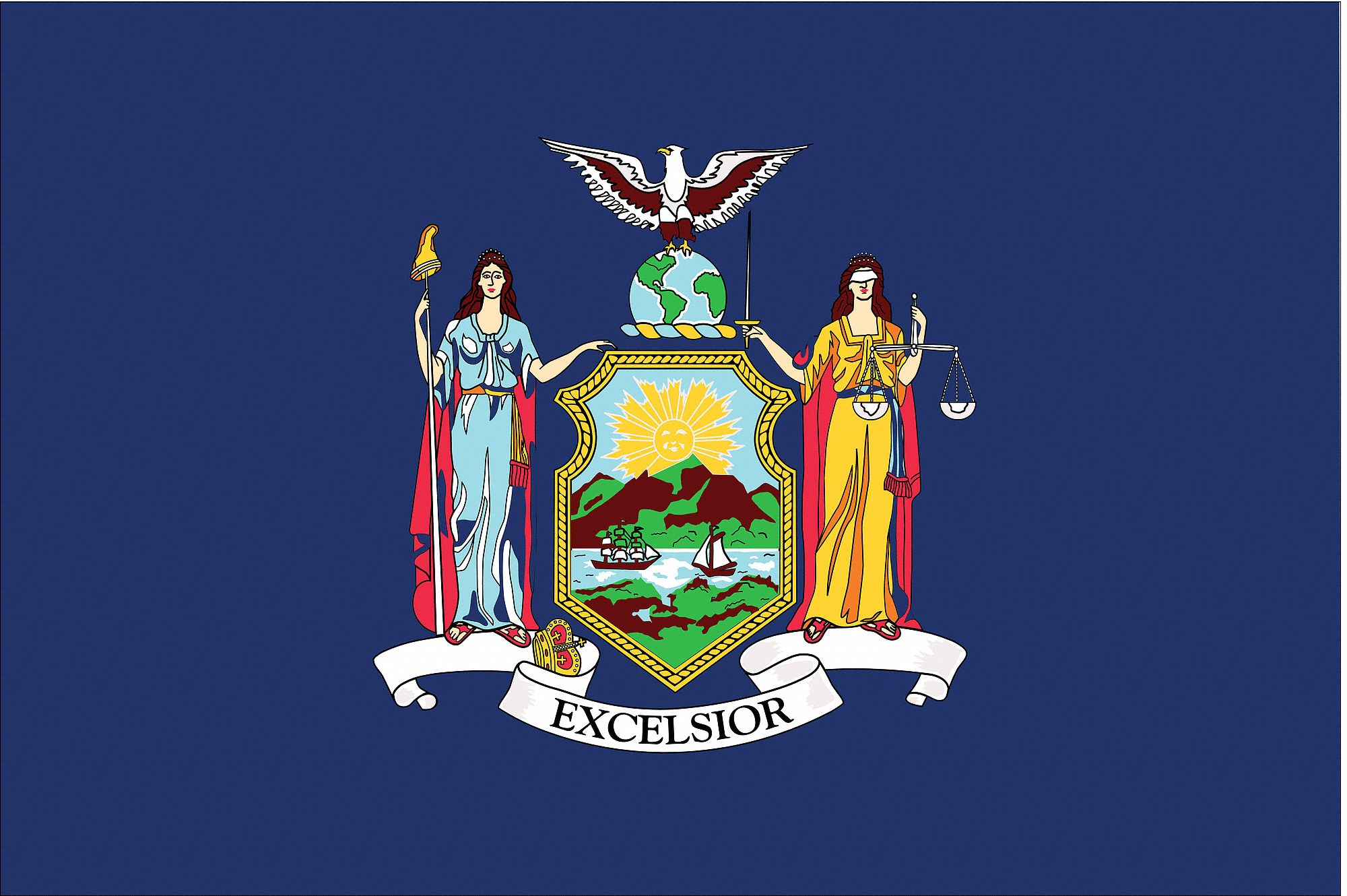 New york city itself was first settled in 1624 and is, therefore, centuries older than the flag yang before june 1915, new york city had no official flag, and used, on an ad hoc basis, an unofficial. NYLGLO New York State Flag, 3 ftH x 5 ftW, Outdoor - 2NEL5 ...