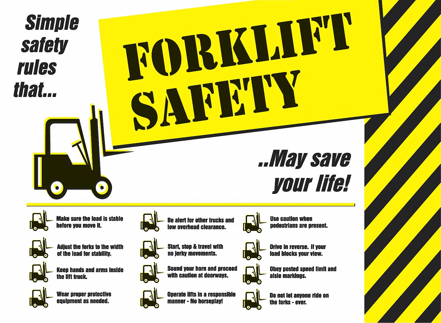 safety poster safety banner legend forklift safety 17 in x 22 in english