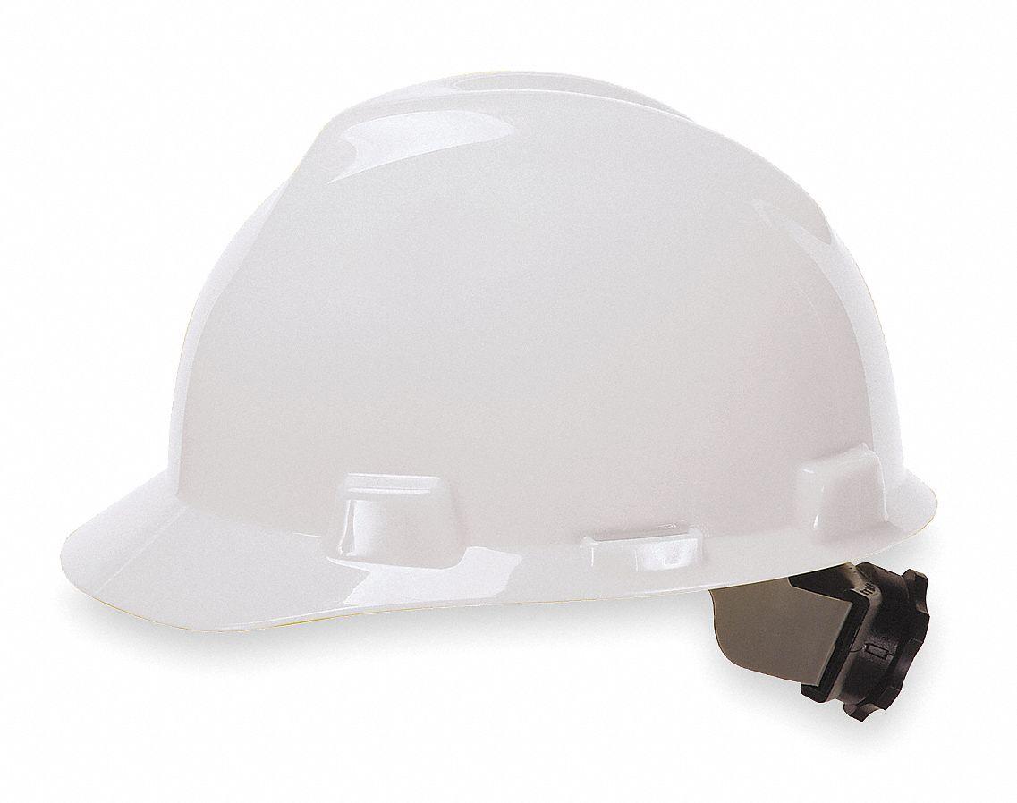 MSA Front Brim Hard Hat 4 Pt Ratchet Suspension White