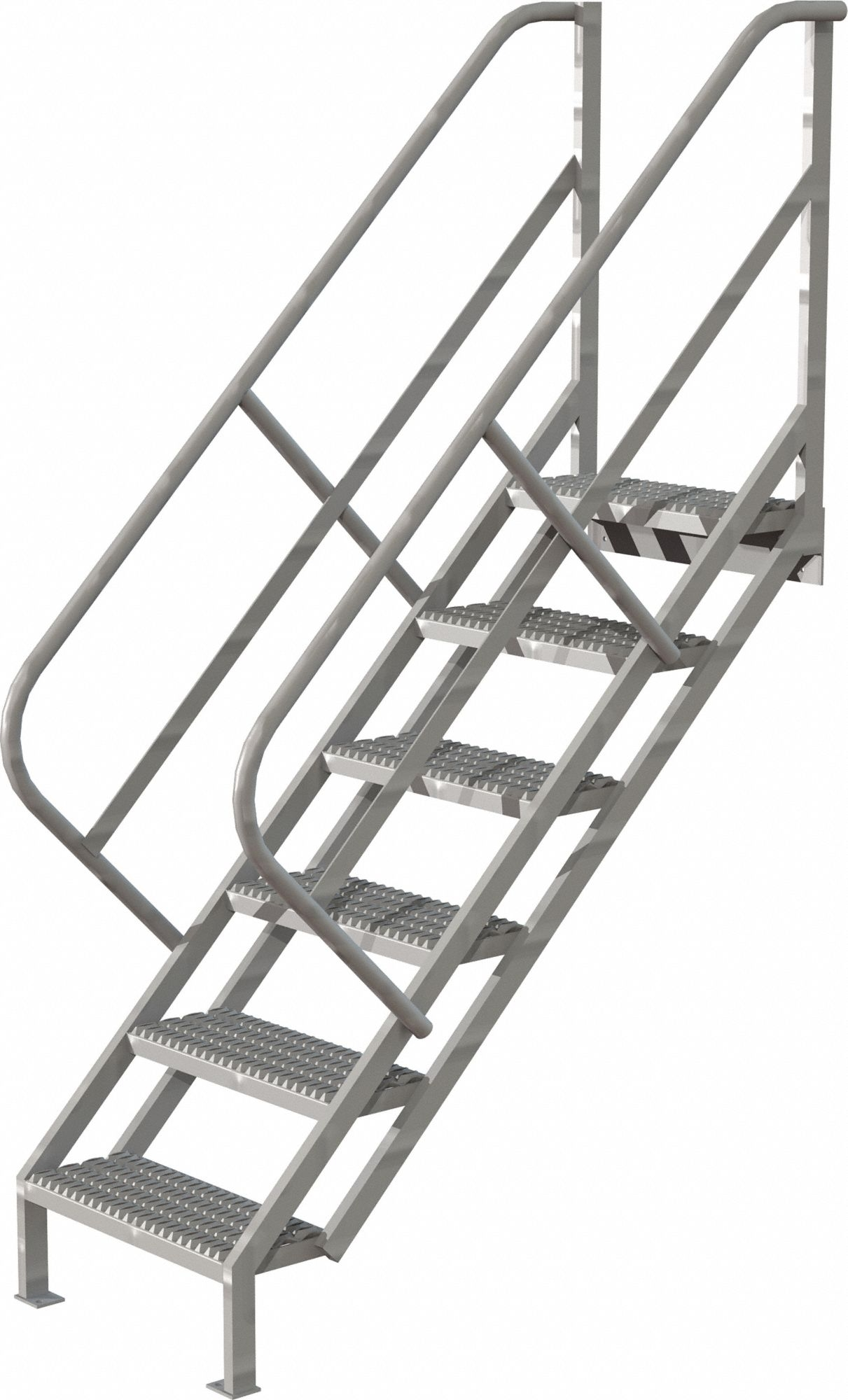 Tri Arc Steel Stair Unit 57 In Top Step Height 450 Lb Load   Steel Steps For Stairs   Chequer Plate   Fabricated   Wire Mesh   Prefabricated   Corrugated Metal