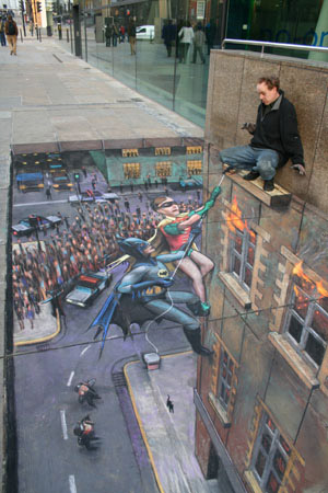 Julian Beever: Batman and Robin