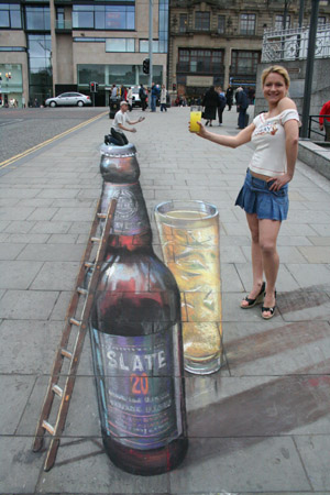 Julian Beever Beer Bottle Drawing