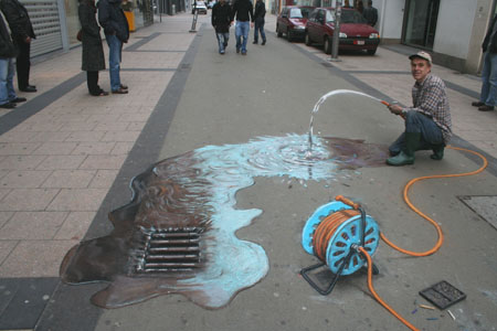 Julian Beever Hose Drawing