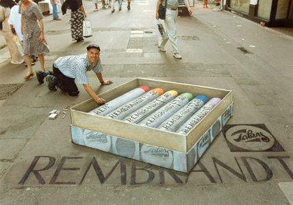 Julian Beever Rembrandt Drawing