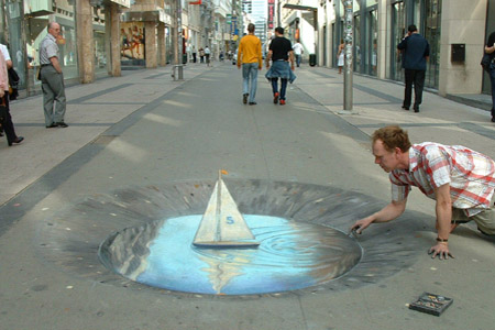 Julian Beever Sailboat Drawing