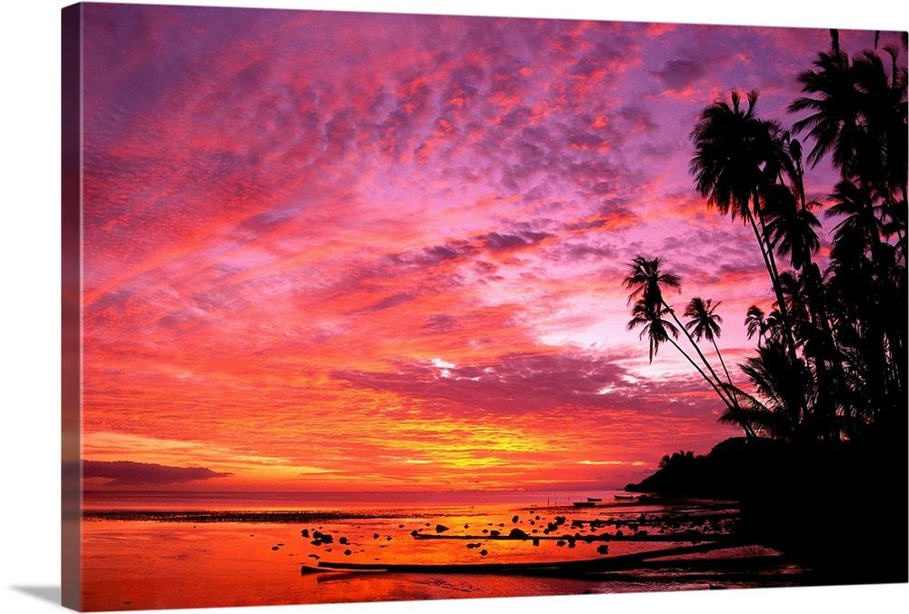 Hawaii, Molokai, Dramatic Tropical Sunset, Palms At