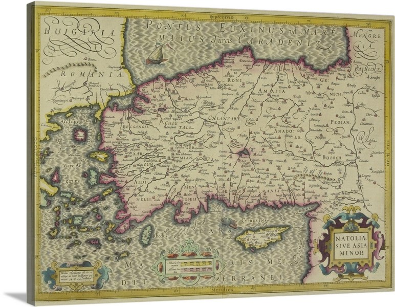 Antique map of Asia Minor Wall Art  Canvas Prints  Framed Prints     Antique map of Asia Minor