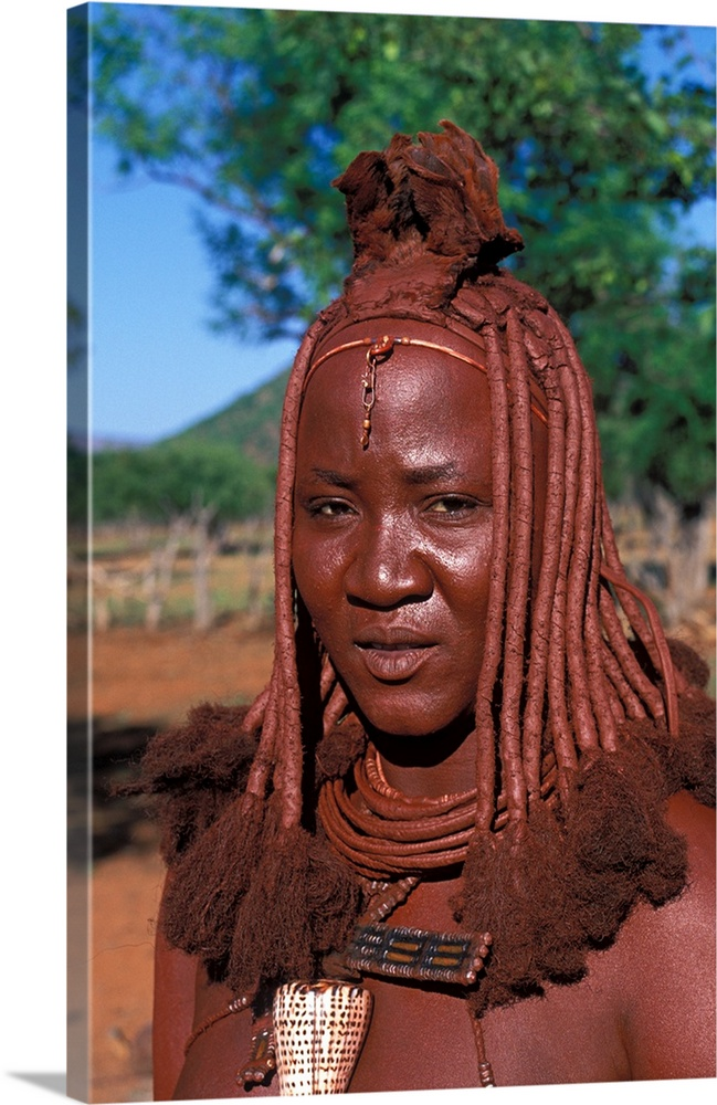 Himba Tribe Woman With Traditional Headdress Of Mud