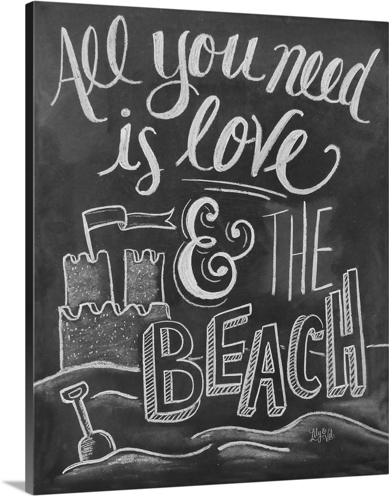 Download All You Need Is Love And The Beach Handlettering Wall Art ...
