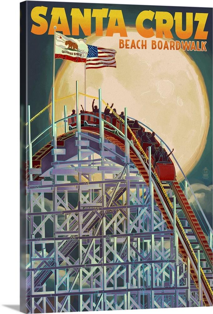 santa cruz california big dipper coaster and moon retro travel poster solid faced canvas print