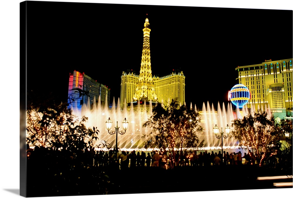 Las Vegas, night at the Bellagio Hotel, Nevada