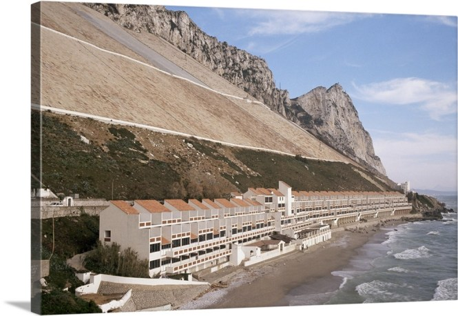 Apartments Below Water Catchment Slopes Sandy Bay Gibraltar Mediterranean Wall Art