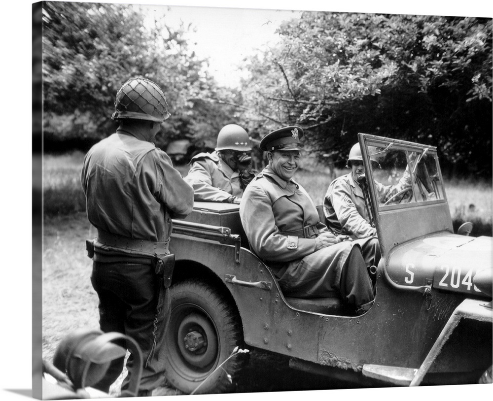 Vintage World War II photo of General Dwight D. Eisenhower sitting in a jeep