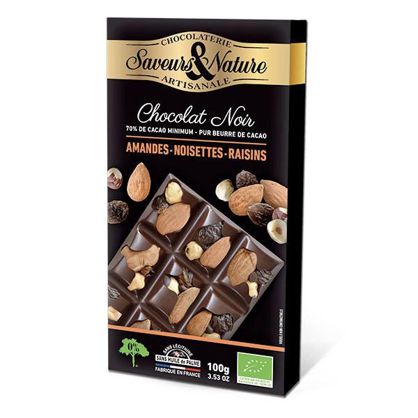 tablette chocolat noir 70 noisettes amandes raisins secs 100g