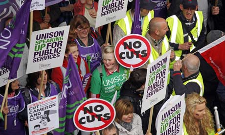 TUC demonstration against government spending cuts