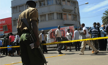 A Kenyan police officer at the scene of a bombing in Nairobi last October that was blamed on al-Shabaab. Three people were killed. Photograph: Simon Maina/AFP/Getty