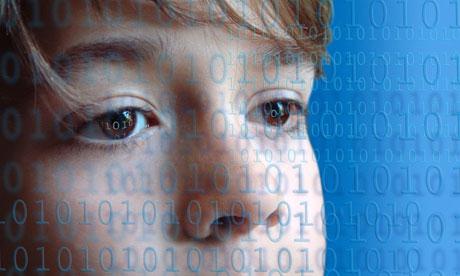 Boy behind binary code