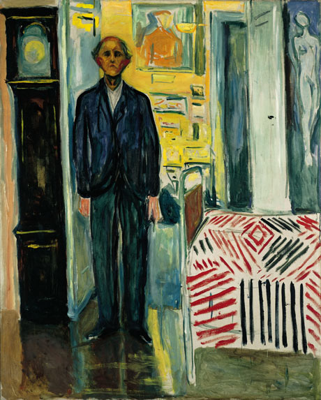Munch's Self-portrait Between Clock and Bed, 1940-42