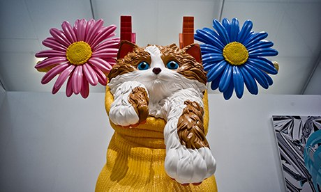 Cat on a Clothes Line (Yellow), by Jeff Koons