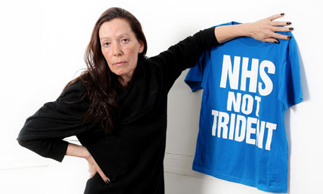 Katharine Hamnett - with her NHS not Trident T-shirt