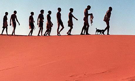 Khomani bushmen visit ancestors' graves in Kalahari Gemsbok Park in South Africa