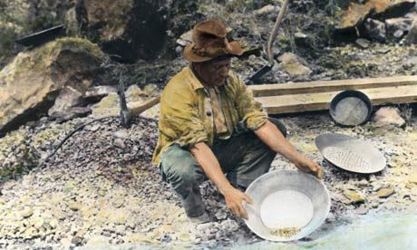 Panning for gold in California, ca 1890