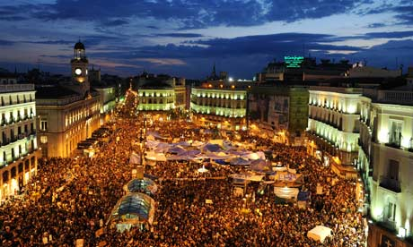 Spanish demonstrate unemployment and austerity measures in Madrid, 2011