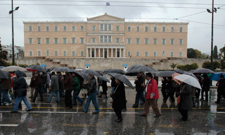 Pensioners during an anti-austerity rally in front of the Athens parliament. February 22, 2012.