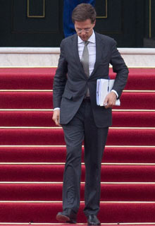 Dutch prime minister Mark Rutte leaves royal palace Huis ten Bosch after meeting Queen Beatrix.
