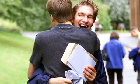 Sixth form students celebrating 'A' level success at St Nicholas RC High School, Hartford, Cheshire