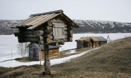 The church huts of Utsjoki, Finland