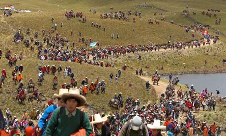 MDG : Protest against mining project of Conga,  Cajamarca , Peru