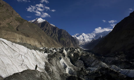 Asian glaciers : Hopar glacier in the Central Hunza Region in Pakistan