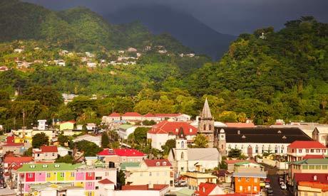 Small Island and green energy : Roseau under stormy skies, Dominica, Leeward Islands, West Indies