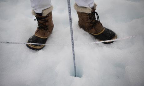 John Vidal in Arctic : Scientist John Fletcher from Cambridge University Measuring Arctic Sea Ice
