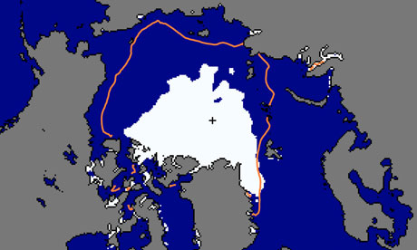 Arctic sea ice minimum map by US National Snow & Ice Data Center