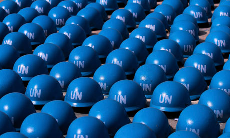 MDG : Peacebuilding and security : UN peacekeeping forces helmet