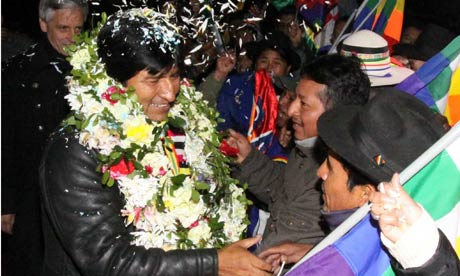 Bolivian President Evo Morales arrives at El Alto airport in La Paz