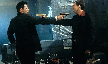 John Travolta and Nicolas Cage in Face/Off (1997)