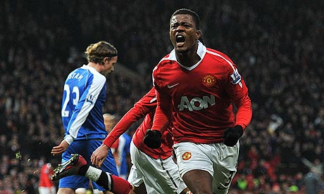 Patrice Evra opened the scoring for Manchester United against Wigan Athletic just before halftime
