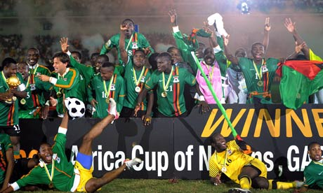 Zambia players celebrate after winning Africa Cup of Nations